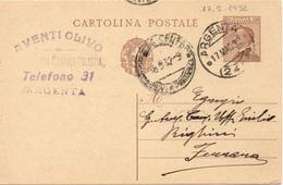 Argenta (frazionario) Per Ferrara - 17.5.1932 - Cartolina Postale Da 30c. Michetti - 1900-44 Victor Emmanuel III