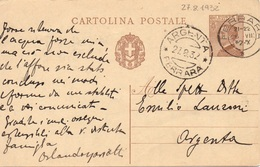 Ferrara Per Argenta - 27.8.1932 - Cartolina Postale Da 30c. Michetti - 1900-44 Victor Emmanuel III