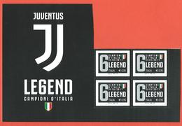 Italia 2017; Juventus Campione D' Italia, Calcio Serie A. Quartina + Bordo Con Il Nuovo Logo Della Squadra. - 6. 1946-.. República
