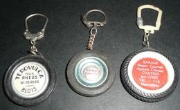 Lot 3 Anciens Portes-clés Porte-clefs CLE Publicitaires, Pneu Pneus Pneumatique, KLEBER TEROVULCA Garage Courtat - Porte-clefs