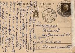 Agrigento Per Telese (Benevento) - 21.1.1938 - Cartolina Postale RISPOSTA PAGATA Da 30c. Imperiale - Marcophilia