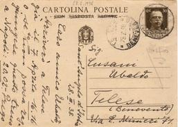 S. Angelo D'Ischia Per Telese (Benevento) - 28.7.1938 - Cartolina Postale RISPOSTA PAGATA Da 30c. Imperiale - Marcophilia