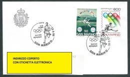 1988 SAN MARINO BUSTA SPECIALE CIO CONS JOURNEE OLYMPIQUE TIMBRO ARRIVO - KS13 - FDC