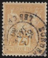 France   .    Yvert  .      92         .      O   .     Oblitéré - 1876-1898 Sage (Type II)