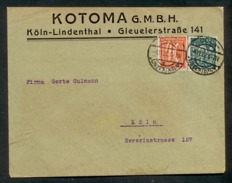 DR 1921, Inflation, Bedarfsbrief Im Ortsverkehr Von Köln Am 4.11.22, Mi. # 163 Wz 1 Und 182 Wz 2. - Tour Et Taxis