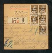 DR 1920, Inflation, Paketkarte, Mi. # 122 PF I, 123 PF II, 124 (10x). Mi. # 122 PF I, 123 PF II Sind Plattenfehler. - Allemagne