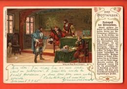 EAL-11 Litho Das Postwesen Des Millelalters, La Poste Au Moyen-âge. Pionier. Gelaufen - Post & Briefboten