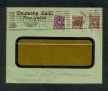 DR 1922 Inflation, Fensterkuvert Von Frankfurt/Main Am 4.1.1923, Frankiert Mit Mi. # 207 W Und 208 W (2x). Geprüft. - Germany