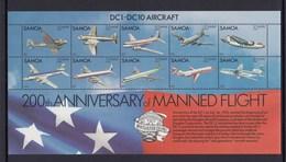 Samoa 1983 200th Anniversary Of Manned Flight - MUH Miniature Sheet  DC1-DC10 - Avions