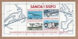 Samoa 1977 50th Anniversary Of Colonel Lindburgh´s Flight Across The Atlantic - MUH Min Sheet - Avions