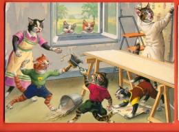 EAL-22  Chats Humanisés Peintres Et Tapissiers. Grand Format, Cachet 1994. - Animali Abbigliati
