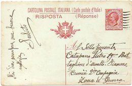 ITALY / ITALIA 1918. Entire P.C. (answer Part). Cartolina Postale RISPOSTA (Leoni) Da 10 Cent. Mill.17 To War Zone - 1900-44 Vittorio Emanuele III