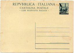 ITALY / ITALIA 1951. Entire P.C. (message Part) Cartolina Postale DOMANDA Da Lire 20 Quadriga Romana, Uncirculated - 6. 1946-.. Repubblica