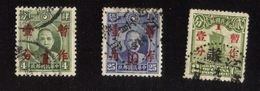 1930-38 Sinkiang & Mengkiang Overprints In Red ,341,343 Plus ++ 2 Cent Postage Stamp With 1 Cent Overprint - 1941-45 Northern China