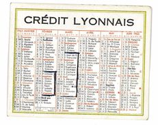 CALENDRIER CREDIT LYONNAIS 1963 - Calendriers
