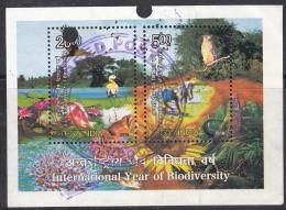 Postal Used India Miniature 2010, International Year Of Biodiversity, Nature, Bird, Owl, Crab Job, Plant, Tree - Birds