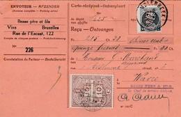 Carte Récépissé,timbre N°187 Perforé Et Décentré+timbre Fiscal 10 C Perforé,cachet Molenbeek Vers Wavre - Perforés
