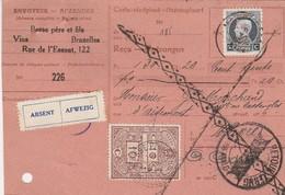Récépissé,timbre N°187 Perforé, Décentré+timbre Fiscal 10 C Perforé, Molenbeek  Vers Wavre+absent Retour,barré Roulette - Perforés