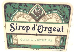 - étiquette - Sirop D'Orgeat Inspiration  Art Déco Avec AIgle   F (4  Petits Pts Colle Ou Amincis) 1930 - Etiquetas