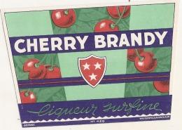 - étiquette - CHERRY BRANDY   F (4  Petits Pts Colle Ou Amincis) 1930* - Whisky