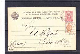 Russie - Carte Postale De 1889 - Entier Postal - Oblit Riga - Exp Vers Schneeberg En Allemagne - 1857-1916 Imperium