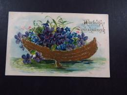 Postcard Ansichtkaart Netherlands Grootrond Helmond Veghel Embossed Hartelijke Gelukwensen Flowers Bloemen 1906 - Postkaarten