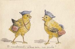 CPA - Poussins - Carte Dessinée Aquarelle - Uccelli