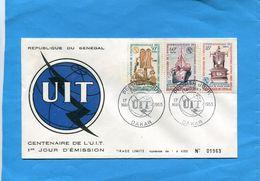 Sénégal-enveloppe FDC  Série U I T  1965-N° 252-4 -téléphone-télégraphe-navire Cablier- Tirage Limité Ex 1963 - Senegal (1960-...)