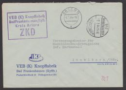 Bad Frankenhausen VEB (K) Knopffabrik Kr. Artern ZKD-Brief Mit Kastenstempel 1964 - Official