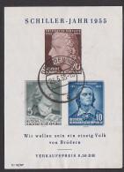 Friedrich Von Schiller Schiller-Jahr 1955 DDR Block 12 Mit St. Dresden - [6] Oost-Duitsland