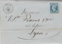 Yvert 22 Napoléon Lettre ANDUZE Gard 20/4/1866 GC 3676 Pour Lyon - 1849-1876: Période Classique