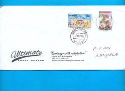 UGANDA Domestically Used Cover With UGX 300 Education For All And UGX 400 2005 Flowers Stamps OUGANDA #08 - Uganda (1962-...)