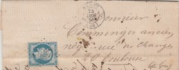 Yvert 22 Napoléon Lettre MURET Haute Garonne 24/12/1865 GC 2587 Pour Toulouse - 1849-1876: Classic Period