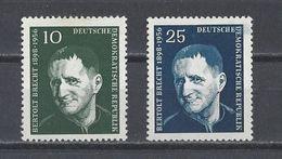 ALLEMAGNE ORIENTALE . YT 309/310 Neuf ** Anniversaire De La Mort Du Romancier Berthold Brecht 1957 - DDR