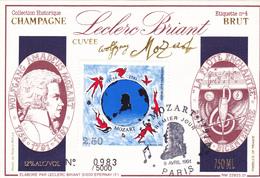 N° 4 LECLERC BRIANT Cuvée MOZART Avec Timbre Premier Jour 9 Avril 1991 Paris - Champagner
