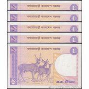 TWN - BANGLADESH 6Bh - 1 Taka May 1993 DEALERS LOT X 5 - Various Prefixes UNC - Bangladesh