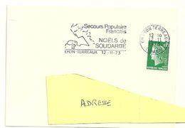 RHONE - Dépt N° 69 = LYON TERREAUX (1er ARR)  1973 = FLAMME SUPERBE = SECAP Illustrée 'secours Populaire  / Noëls' - Poststempel (Briefe)