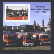 Deutschland PostModern Block '150 J. Feuerwehr Dresden' 5 / Germany M/s '150th Ann. Of Dresden Fire Dept.' **/MNH 2012 - Feuerwehr