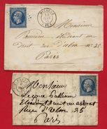 Gers - 2 Plis - Mirande - PC2005 Sur N°14 - 1859 - Marcophilie (Lettres)