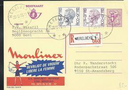 Doc. De MERELBEKE   3  Le 20/10/1975  En Rec. De Merelbeke 1 Sur Carte Publibel N° 2642 (Moulinex) - Cachets à étoiles