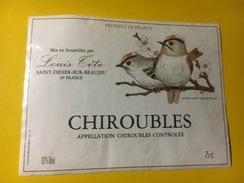 4411 - Chiroubles Louis Tête Oiseaux Roitelet Huppé - Beaujolais