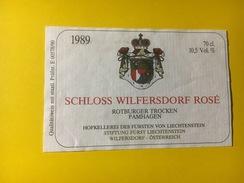 4413 - Schloss Wilfersdorf Rosé 1989 Rotbuger Trocken Pamhagen Liechtenstein Petite étiquette - Etiquettes