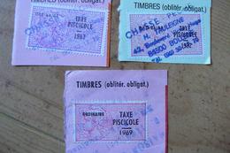 France - 3 Timbres Fiscaux - Taxe Piscicole Ordinaire - Années 1969 - 1982 - 1983 - Steuermarken