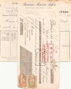 France Facture + Chèque Collé Ancienne Maison Anfrie Soieries En Gros à Paris Le 18 Mars 1925 - Deportes & Turismo