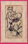 Carte Brodée - Sainte Anne - Fleurs - Myosotis - J.S. Paris - Soie - Non Classés