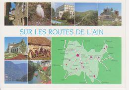 01 SUR LES ROUTES DE L'AIN - MULTIVUES - CARTE GEOGRAPHIQUE - Cartes Géographiques