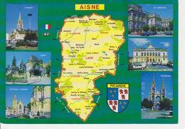 02 AISNE - CARTE GEOGRAPHIQUE - MULTIVUES - BLASON PICARDIE - Cartes Géographiques