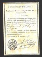 Aude - Pensionnat De L'Aude - Attestation Du Premier Prix De La Classe - Septembre 1807 - Diplômes & Bulletins Scolaires