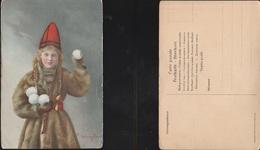 12827) SOLVEIG LUND FOLKLORE RAGAZZA CON BALLE DI NEVE E BERRETTO VICHINGO NON VIAGGIATA MA 1910 CIRCA COSTUMI FOLCLORE - Norvegia