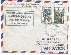 1 ERE LIAISON AERIENNE PARIS-MOSCOU DU 3/8/1958 - Andere (Lucht)